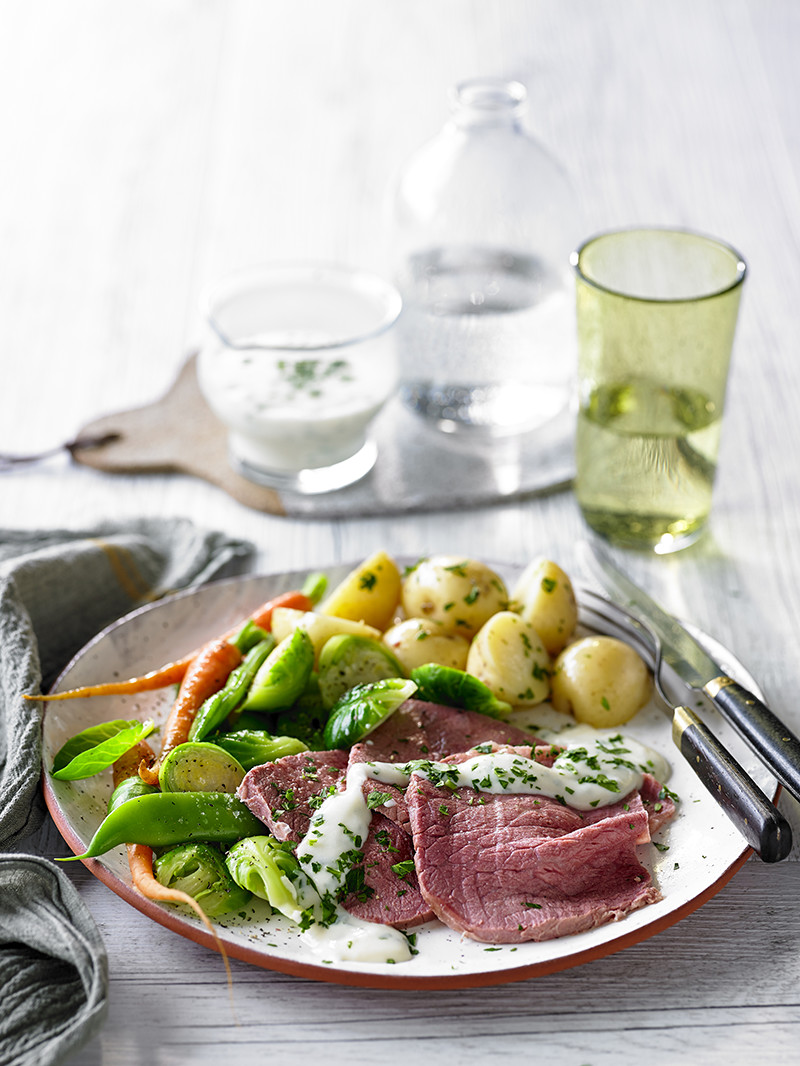 Corned beef with horseradish and parsley white sauce 1